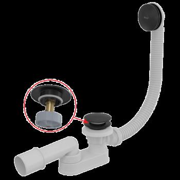 ALCAPLAST CLICK/CLACK kádszifon készlet, fekete-matt, 57 cm