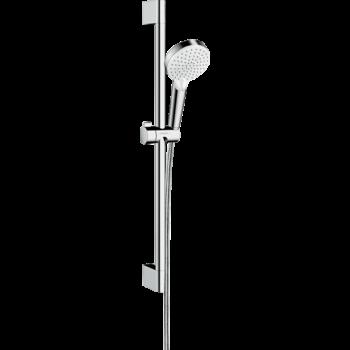 HANSGROHE Crometta zuhanyszett Vario 65 cm-es zuhanyrúddal, Green 6/perc, fehér/króm