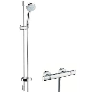 HANSGROHE Croma 100 falsíkon kívüli zuhanyrendszer Vario 90 cm-es zuhanyrúddal és Ecostat Comfort termosztáttal, EcoSmart 9 l/perc