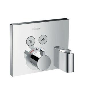 HANSGROHE ShowerSelect termosztát falsík alatti szereléshez, 2 fogyasztóhoz Fixfittel és Porter zuhanytartóval