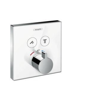 HANSGROHE ShowerSelect Glas termosztátos falsík alatti termosztátos csaptelep, fehér/króm